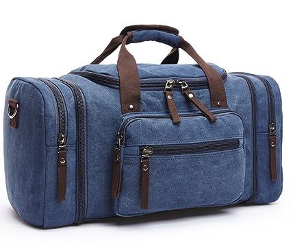 WOMJIA 40L Vintage Voyage sac sac de sport weekender bagage à main de sac de toile en toile Sac en bandoulière Noir lRO81