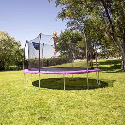 Skywalker Trampolines 15' Jump N' Dunk with Safety Enclosure and Basketball Hoop