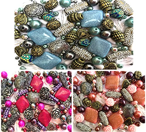 (3 x Packs of Jewellery Making Beads Beautiful Selection of Mixed Acrylic in pink blue &)