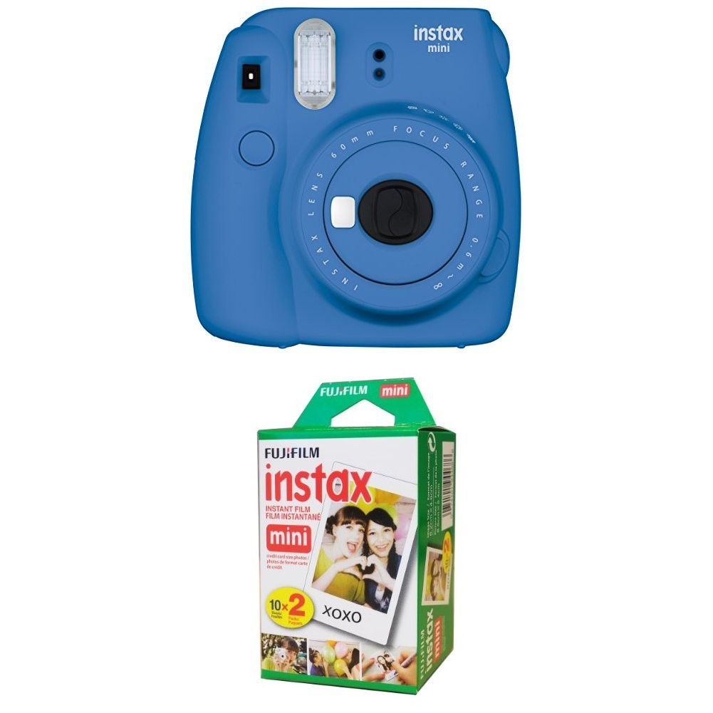 Fujifilm Instax Mini 9 Instant Camera - Cobalt Blue with Twin Pack