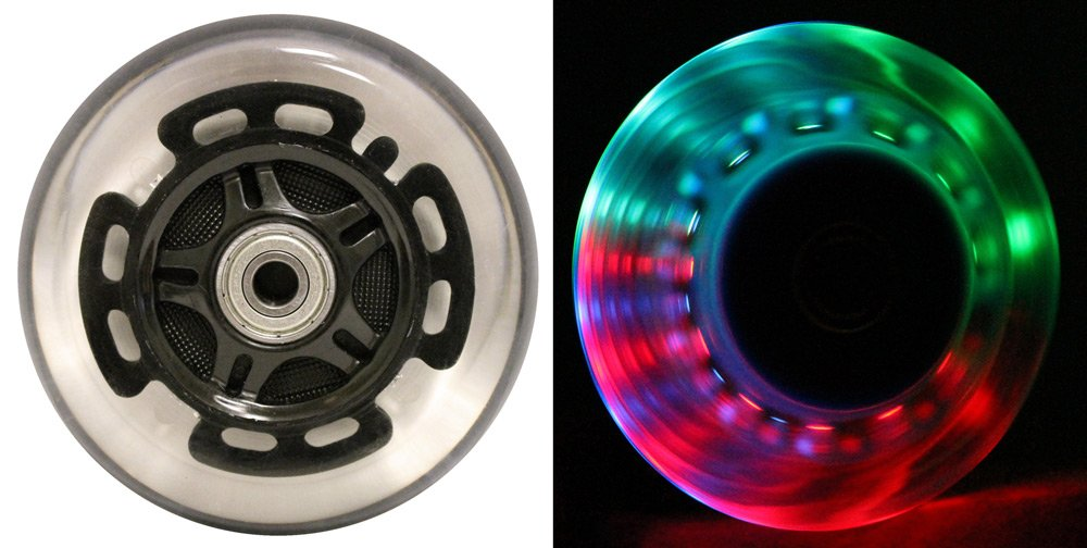 L.E.D. Scooter Wheels With Abec 9 Bearings for Razor Scooters 100mm Light Up Black 2-pack