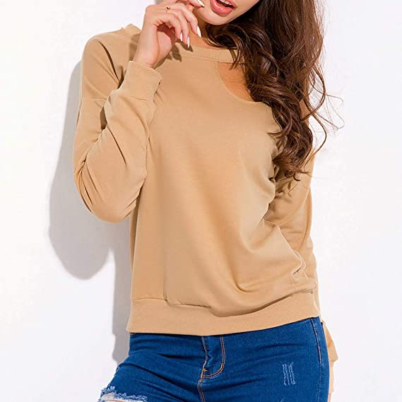 Luckycat Camiseta Casual Mujer Tops Manga Larga Blusa (Caqui, Pequeña)