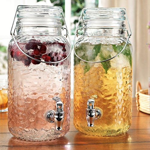 Home Essentials Elegant Glass Twin Beverage Dispenser with with Locking Clamp & Acrylic Spigot -Two Dispensers 1 Gallon Each (Hammered Twin Jugs), , Hammered Twin Jugs-1 Gallon (Home Beverage)