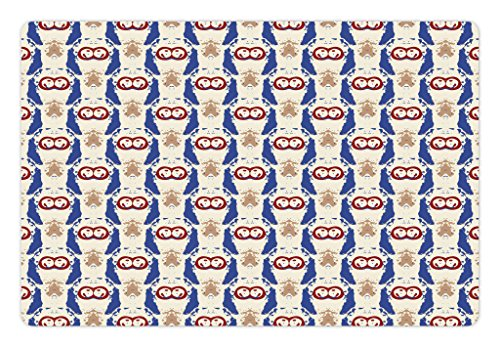 Lunarable Ethnic Pet Mat for Food and Water, Japanese Shibori Inspired Modern Abstract Batik Tiles with Splashed Paint Effect, Rectangle Non-Slip Rubber Mat for Dogs and Cats, (Inspired Batiks)