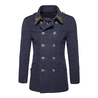 ZiXing Uomo Pea Coat Classico Slim Fit Doppio Petto Trench Cappotto  Amazon. it  Abbigliamento 703e68f80fd