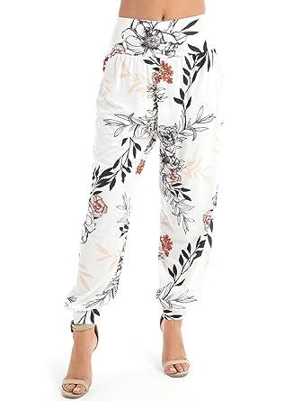 54942983e Ladies Floral Leaf Print Harem Ali Baba Pants Womens Cuffed Trouser Pants   Amazon.co.uk  Clothing