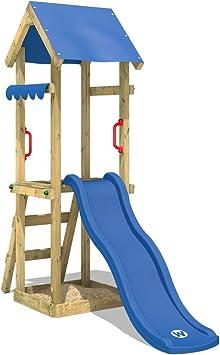 WICKEY Parque infantil de madera TinySpot con tobogán azul, Torre de escalada da exterior con arenero y escalera para niños: Amazon.es: Bricolaje y herramientas