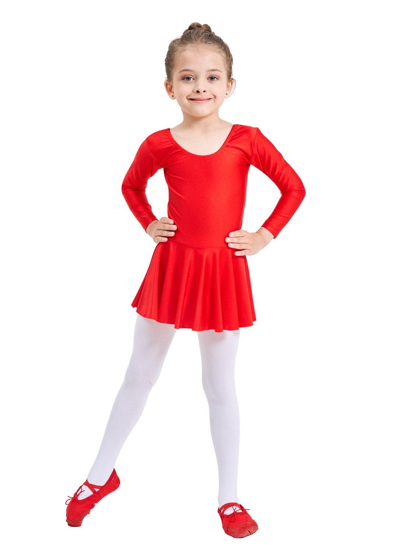 Ensnovo Girls Kids Long Sleeve Spandex Leotard Dance Ballet Dress 99-07-CA-1091