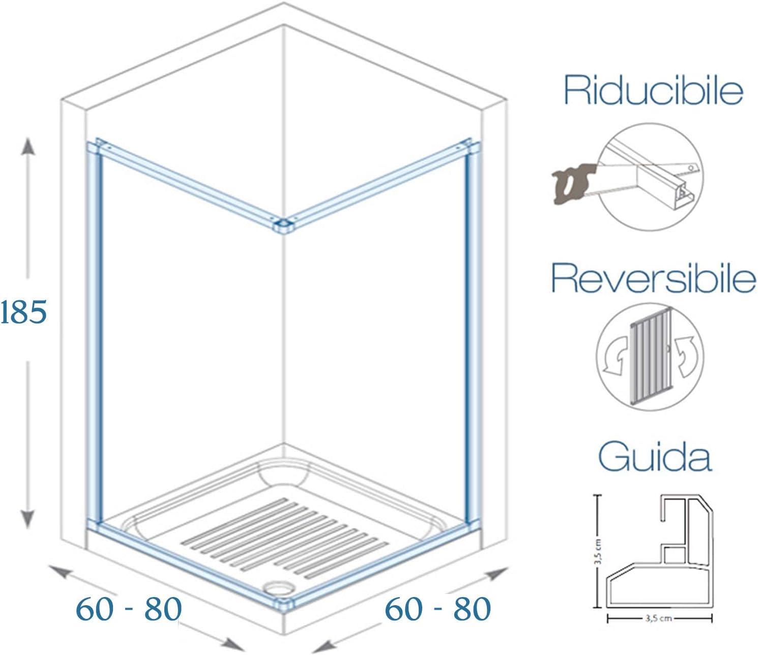 BOX DOCCIA 2 Ante Scorrevoli Mod SKY Apertura Angolare 80-60X80-60 cm H185 cm