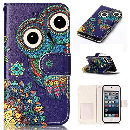 od Touch 5 Case,Touch 5 Wallet Case,Voanice Premium PU Leather Wallet Case with Card Slot Holders Stand Flip Cute Pattern Cover for Apple iPod Touch 5th/ 6th Generation&Stylus -Owl ()
