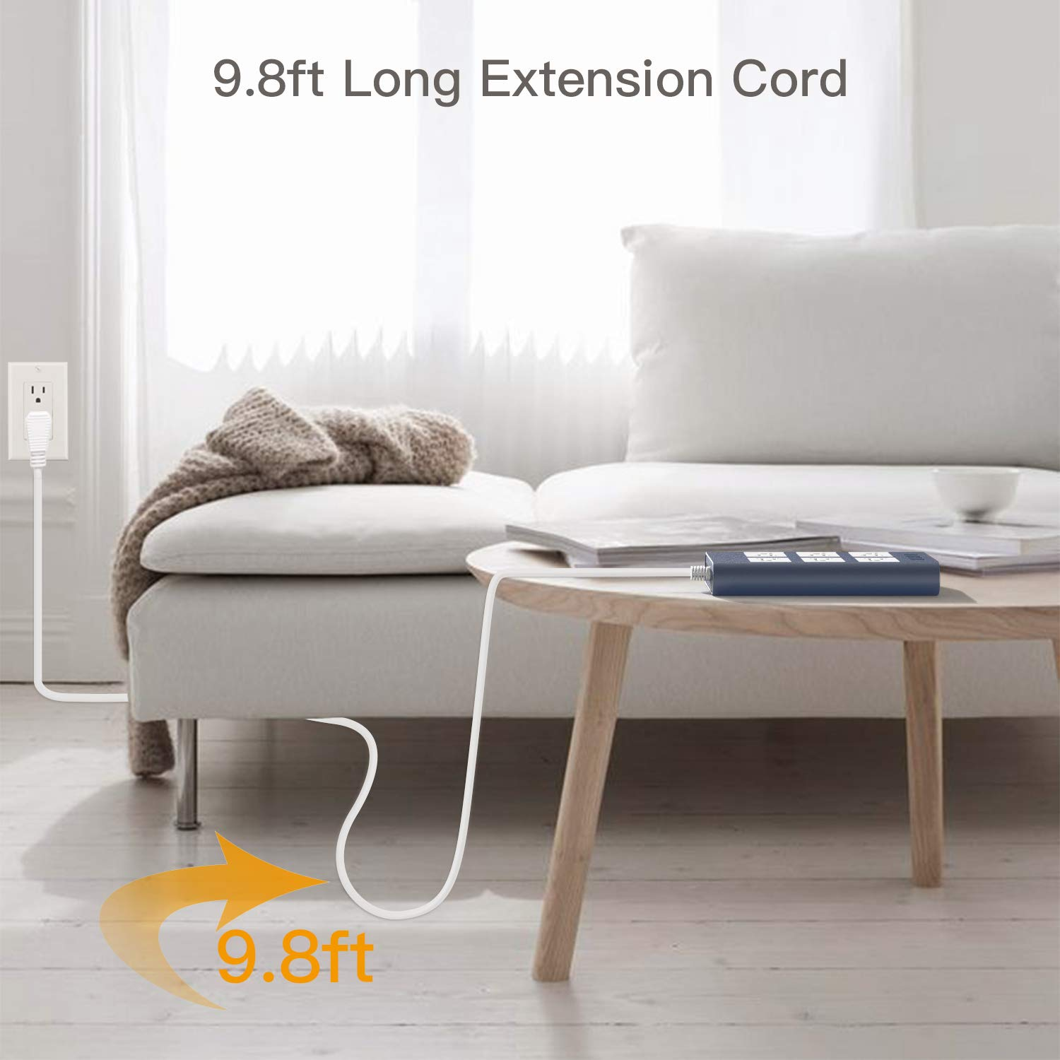 White JACKYLED Flat Plug 9.8ft Long Extension Cord 3.1A 4 USB Ports 6-Outlet Fast Charge Electric Outlet Fireproof Desktop Charger for Phone Computer Laptop 15A Power Strip Surge Protector