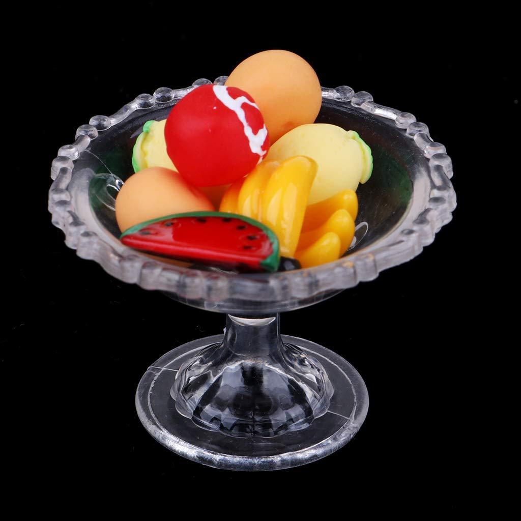D DOLITY 9pcs Cocina Conjunto de Alimentos Modelo de Placa Miniatura para Casa de Mu/ñecas 1//12
