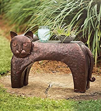 Wind Weather FN9153 Metal Cat Patio Side Table, 27.25 L x 9.75 W x 17 H, Copper