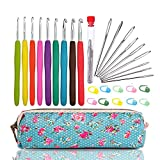 WooCrafts Large-Eye Blunt Needles Yarn Knitting PLUS Crochet Hooks Set with Case,Ergonomic Handle Crochet Hooks Needles for Arthritic Hands.Best Gift!
