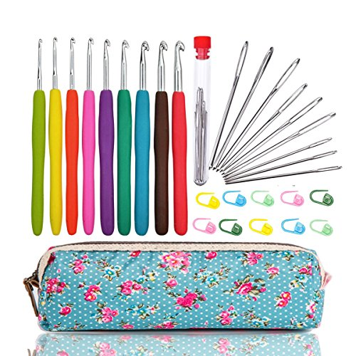 (WooCrafts Large-Eye Blunt Needles Yarn Knitting Plus Crochet Hooks Set with Case,Ergonomic Handle Crochet Hooks Needles for Arthritic Hands.Best)