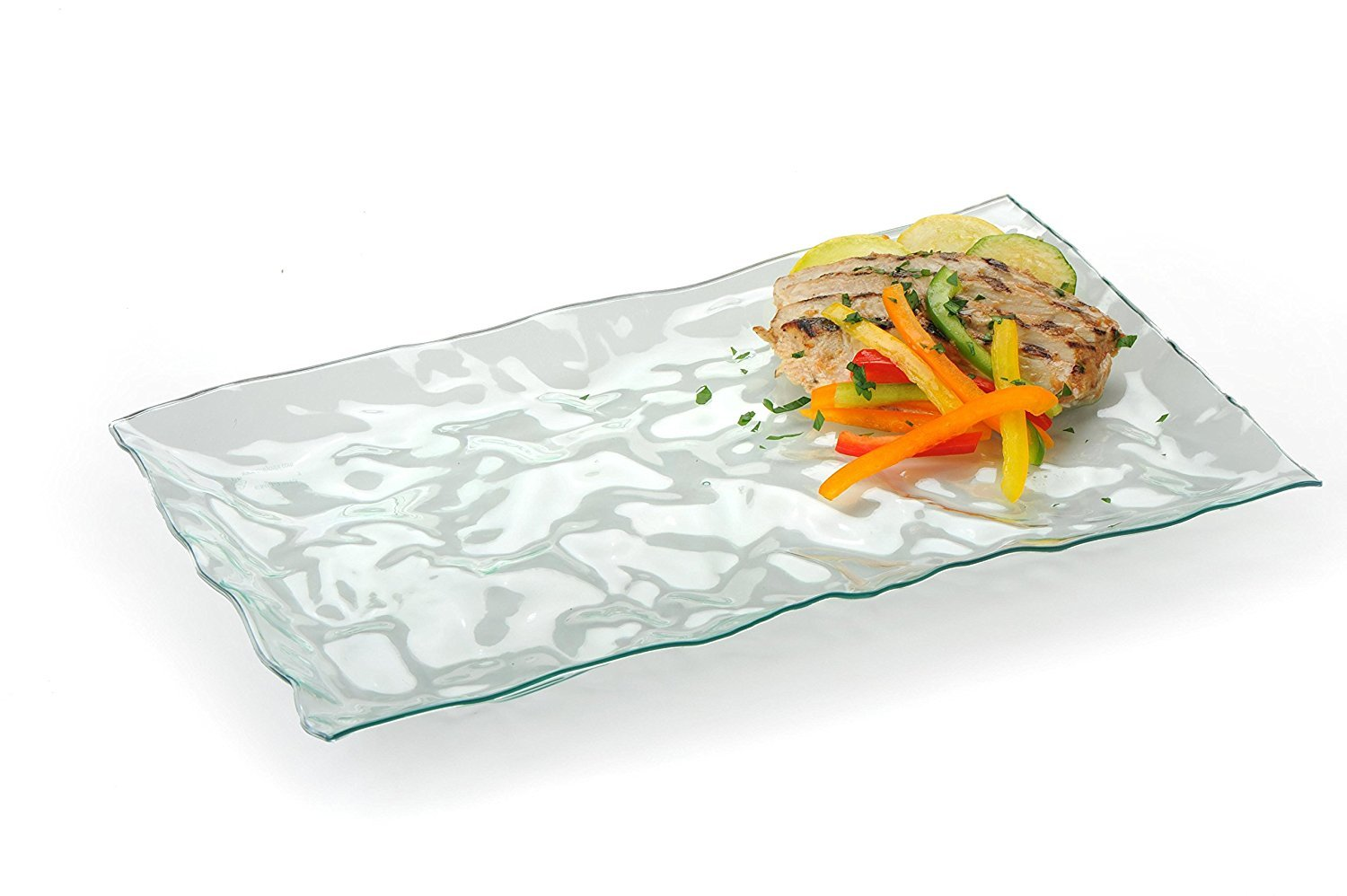 5 Rectangle Heavy Duty Plastic Serving Tray 8.5'' x 13.5'' Serving Platters Food Tray Decorative Serving Trays Wedding Platter Party Trays Clear/Green