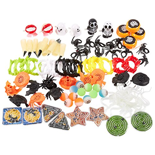 100-Pack of Halloween Toy Favors - Halloween Gifts, Prizes, Novelty Party Favors, Halloween Novelty Toys -
