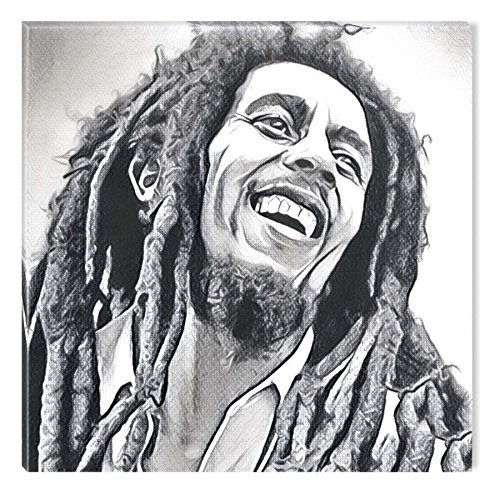 STARTONIGHT Canvas Wall Art Black and White Abstract Bob Marley Celebrity Prisma, Framed Wall Art 32 by 32 Inches