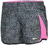 NIKE Big Girls' Dri-Fit 5K Printed Running Shorts Black Grey Pink 835648-065 (XL)
