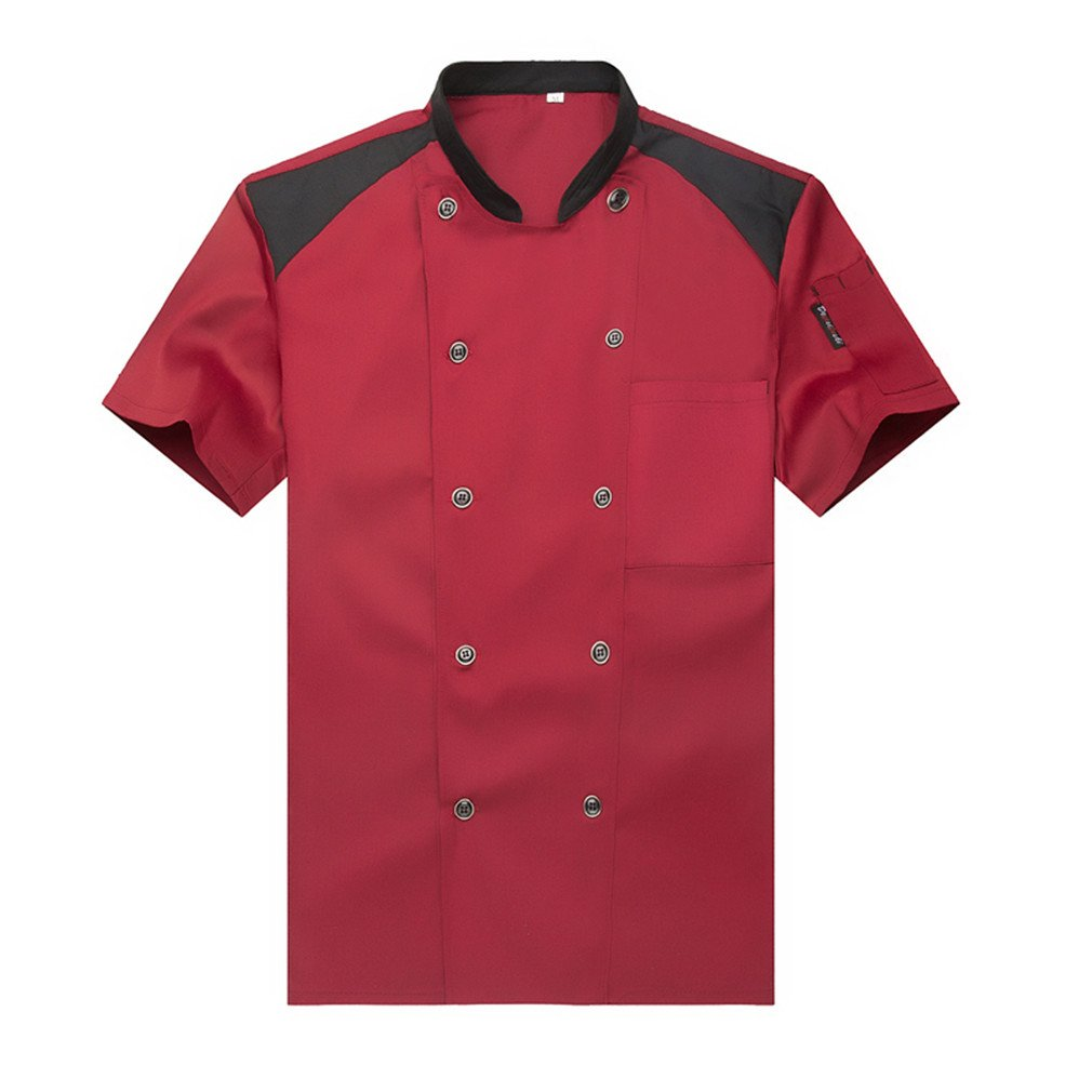 WAIWAIZUI Fashion Chef Jackets Waiter Coat Short Sleeves Many Colors