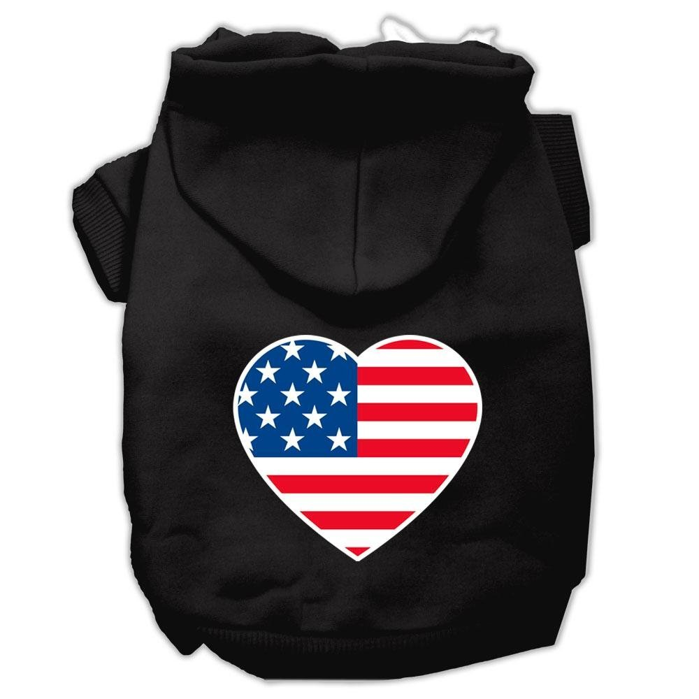 Black XX-Large Black XX-Large Mirage Pet Products American Flag Heart Screen Print Pet Hoodies, XX-Large, Black
