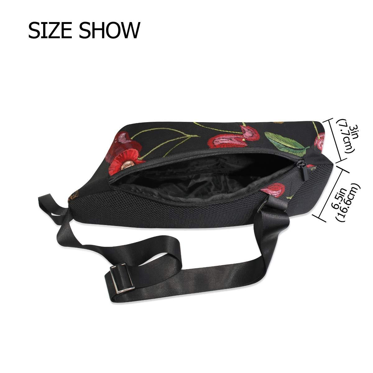 Unisex Messenger Bag Cherry Insect Patterns Shoulder Chest Cross Body Backpack Bag