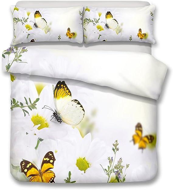CHAOSE Juego de Sábanas Serie de Mariposa 3D Floral Funda Nórdica de Algodón y poliéster 3 Piezas (1 Funda Nórdica + 2 Funda de Almohada) (Mariposa Blanca, (220x 240cm+2/75x50cm) - Cama de 150/160): Amazon.es: Hogar
