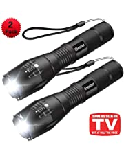 Tactical Flashlight [2 Pack], iBester 1600 Lumens CREEXML-T6 LED Taclight As Seen On TV, Portable, Zoomable, 5 Modes, Water Resistant, Perfect for Camping, Outdoor, Home