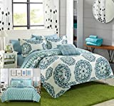 Chic Home Madrid 4 Piece Reversible Quilt Set Super Soft Microfiber Large Printed Medallion Design with Geometric Patterned Backing Bedding Set with Decorative Pillow and Sham, Full/Queen Green