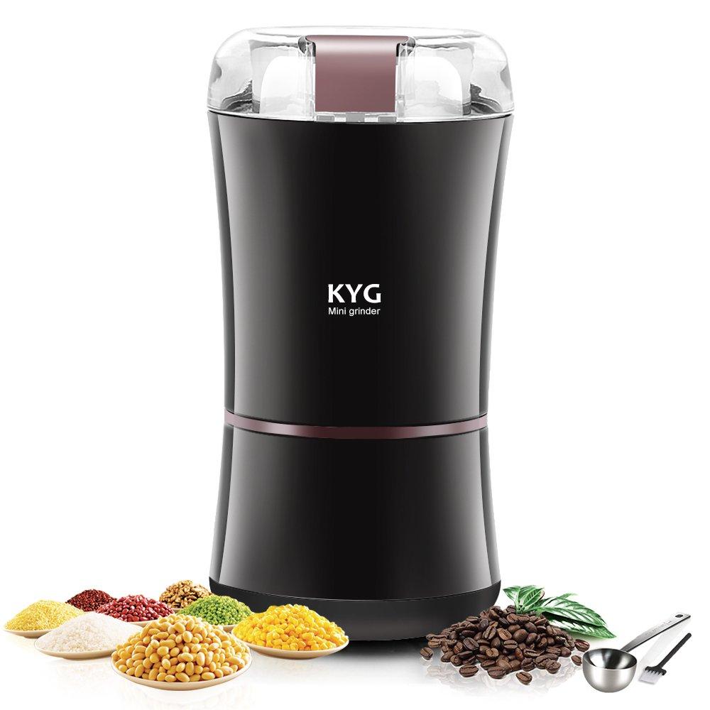 KYG Kaffeemühle 300W Elektrische Kaffeemühle Kaffeebohnen Nüsse Gewürze Getreide Mühle mit Edelstahlmesser 50g Fassungsvermögen (schwarz) Hallo&World