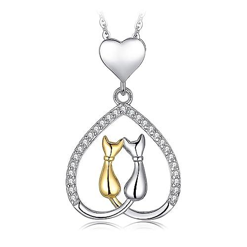 JewelryPalace Colgante Corazón de Gatos Amor Con Zirconia cúbica Plata de ley 925: Amazon.es: Joyería