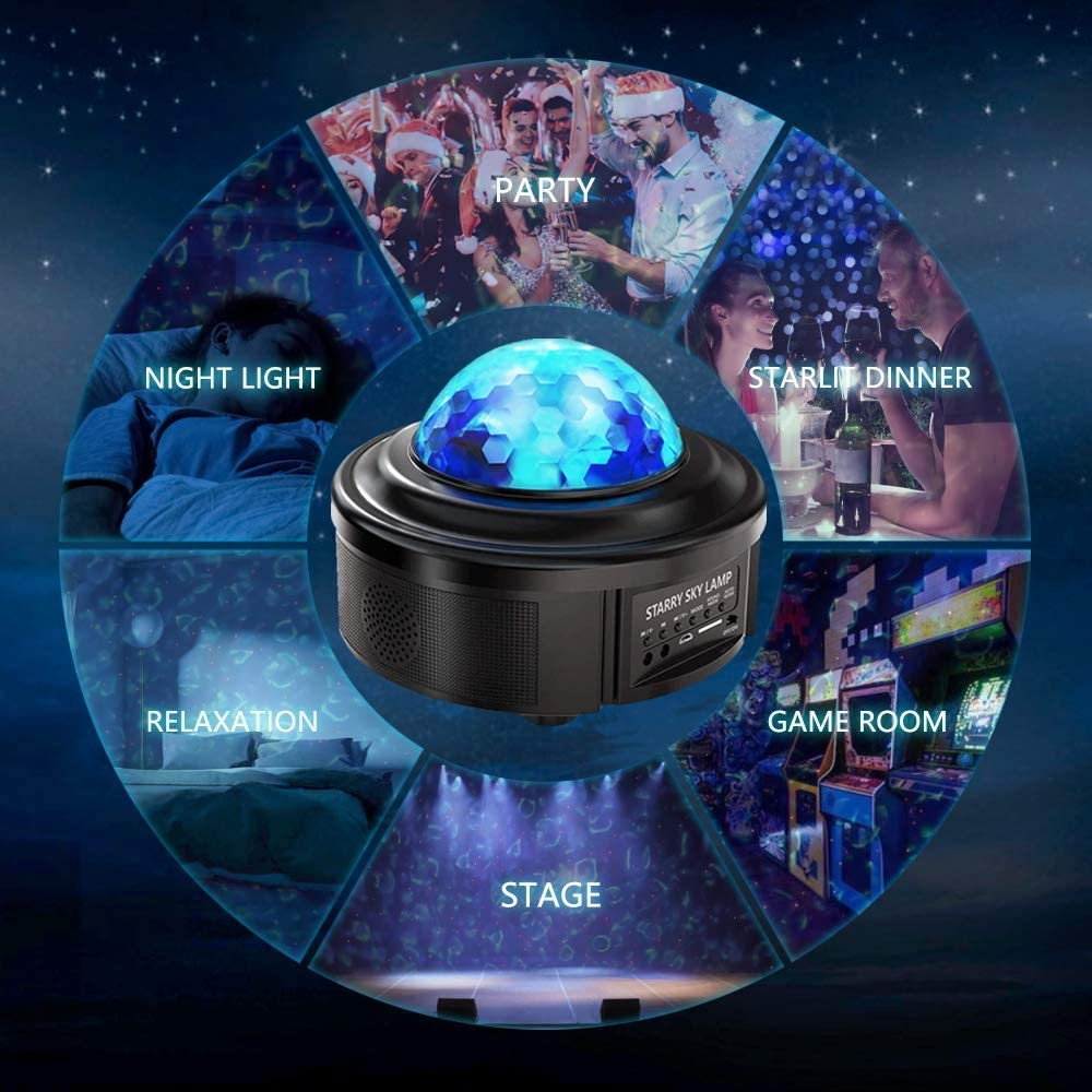 Star Projector Night Light Galaxy Ocean Wave Starry Projector with Bluetooth Speaker,Rotating LED Projection Light for Kids Bedroom Decoration