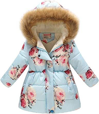 Girls Winter Coat Down Parka Puffer Jacket for Big Girl Padded Outwear with Fur Hood