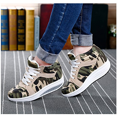 Btrada Womens Fashion Waking Shoes Lace Sul Tallone Traspirante Base Sneakers Casual Di Colore Verde Militare