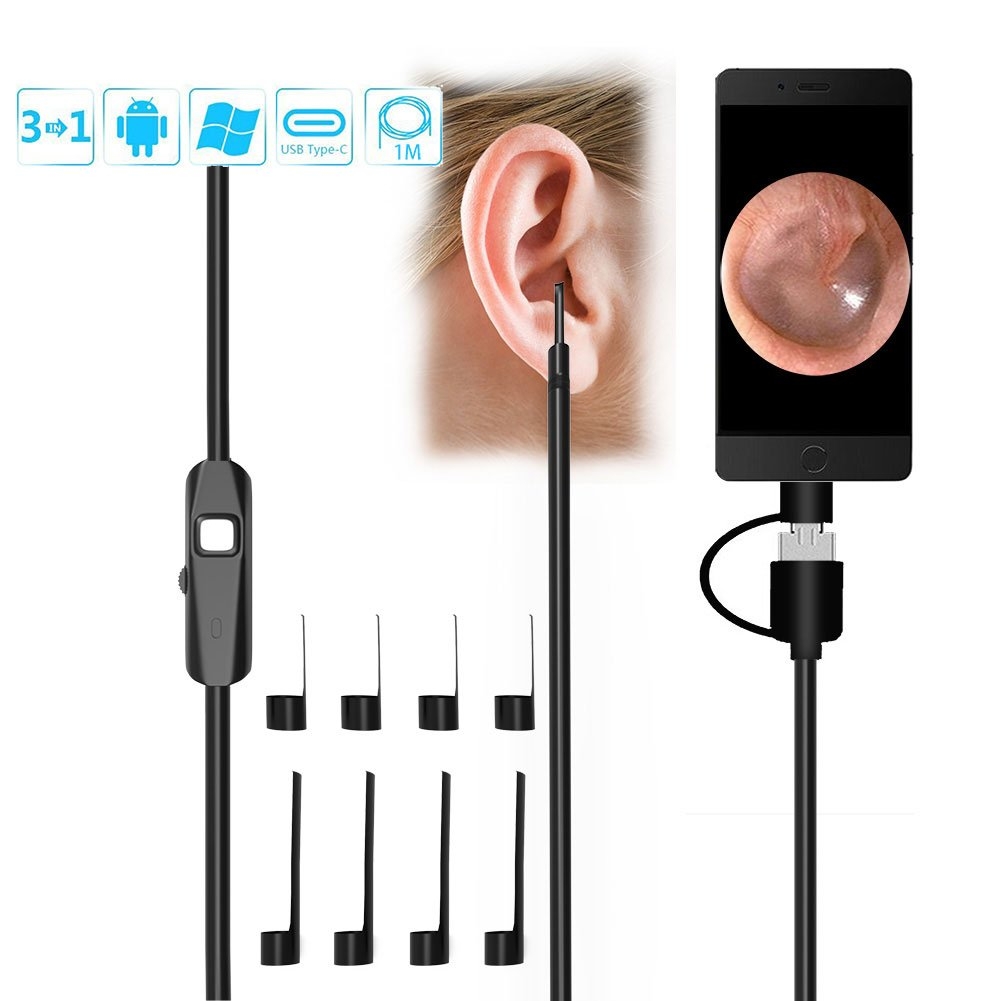 YASSUN USB Endoscope - Ear Cleaning Endoscope Inspection Camera Digital Ear Camera 6 LED Lights Micro USB USB-C Android Devices, Windows MAC PC Computer by YASSUN