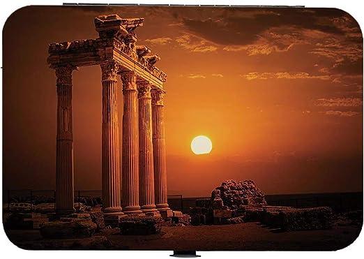 Cortaúñas 15 piezas Juego de manicura y pedicura Decoración antigua Kit de aseo de uñas de acero inoxidable,Antiguos monumentos del antiguo imperio de Roma Columnas Estatuas con imagen de sol, naranja: Amazon.es: