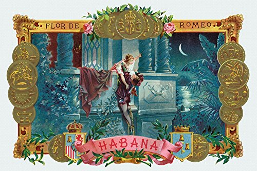 Flor de Romeo Brand Cigar - Famous Romeo and Juliet Balcony Scene - Vintage Label (12x18 Signed Print Master Art Print w/Certificate of Authenticity - Wall Decor Travel ()