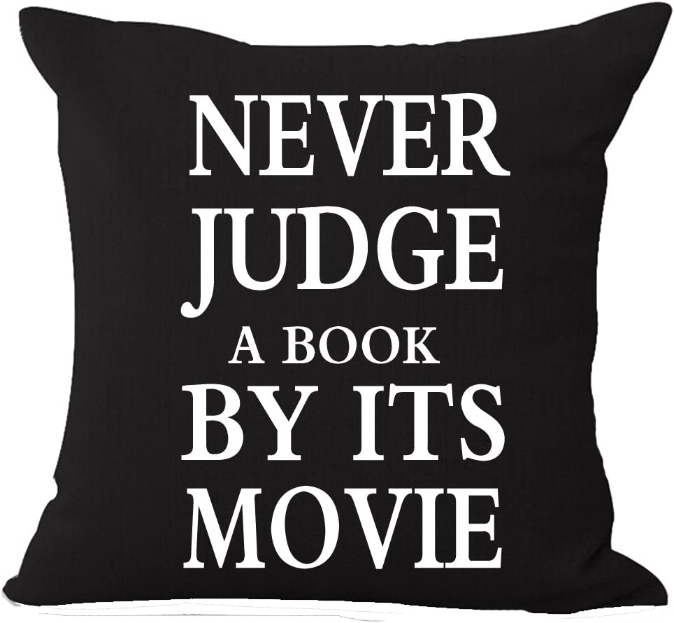 Andreannie Quote Never Judge A Book by Its Movie Background Reader Club Cotton Linen Throw Pillow Cover Cushion Case Home Decorative Square 18 X 18 inches ¡­