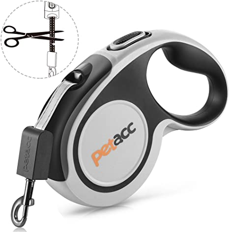 Heavy Duty Pet Walking Leash for Large Dogs,16ft Strong Reflective Nylon Tape Pause Lock One-Handed Brake Reuse Design Petacc Retractable Dog Leash 360/° Tangle Free