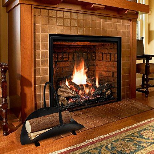 Fireplace log holder indoor black hearth fireset - Chimeneas de peles ...