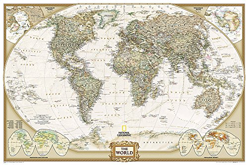 Map Double Sided - National Geographic: World Executive Wall Map (Poster Size 36 x 24 inches) (National Geographic Reference Map)