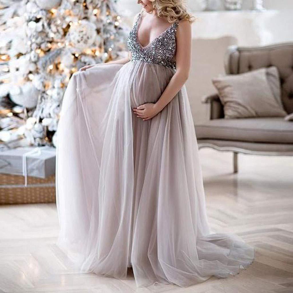 Juliyues Umstandskleid Festlich Hochzeit Damen Schwangere Sling V-Ausschnitt Pailletten Cocktail Lange Maxi Abendkleid Umstandskleid Maternity Kleid Umstandsmode