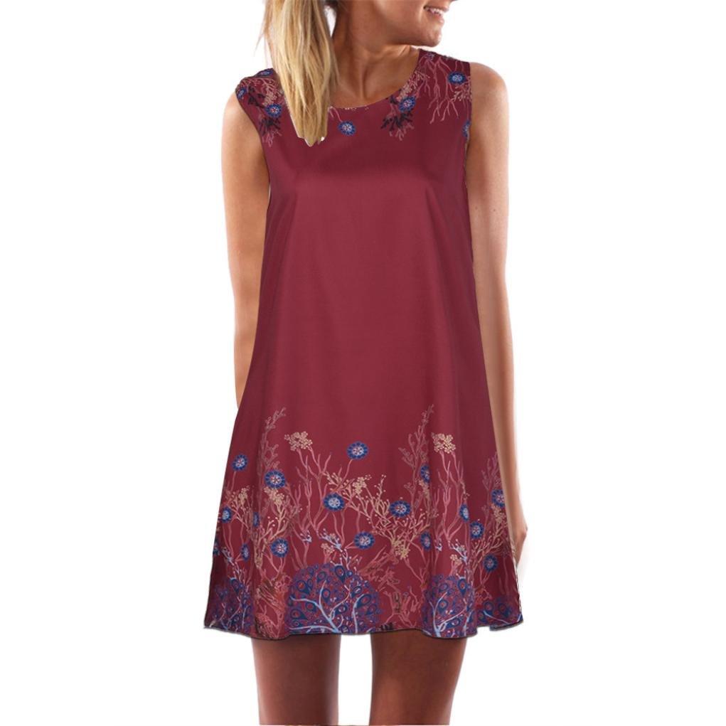Luckylin Summer Women's Casual O-Neck Printing Party Evening Mini Dress