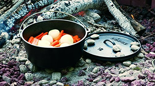 Lodge 8 Quart Camp Dutch Oven. 12 Inch Pre Seasoned Cast Iron Pot and Lid with Handle for Camp Cooking by Lodge (Image #4)