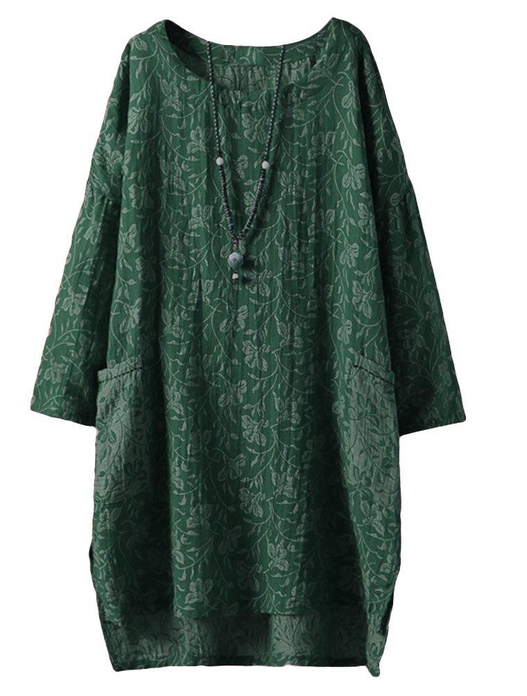 Minibee Women's Long Sleeve Hi-Low Pullover Jacquard Ethnic Style Tunic Tops Green XL
