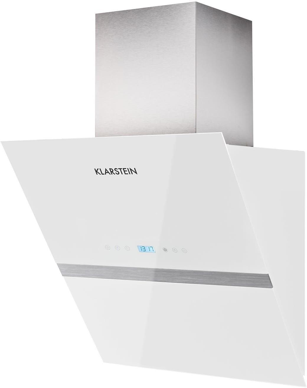 KLARSTEIN Aurea VII Campana extractora Plana (195 W Potencia, Capacidad absorción 620m³/h, 60 cm, Panel táctil, Frontal Vidrio, Mando a Distancia, Temporizador, Clase A) - Blanco: Amazon.es: Grandes electrodomésticos