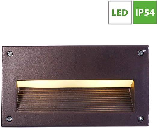LED Aplique de Pared Exterior, IP 65 impermeable Foco de Pared, Aluminio Lámpara de jardín, Iluminación Exterior Empotrable para Escaleras Patio Terraza Porche Corredor, 10W - Luz Cálida 3000k: Amazon.es: Iluminación