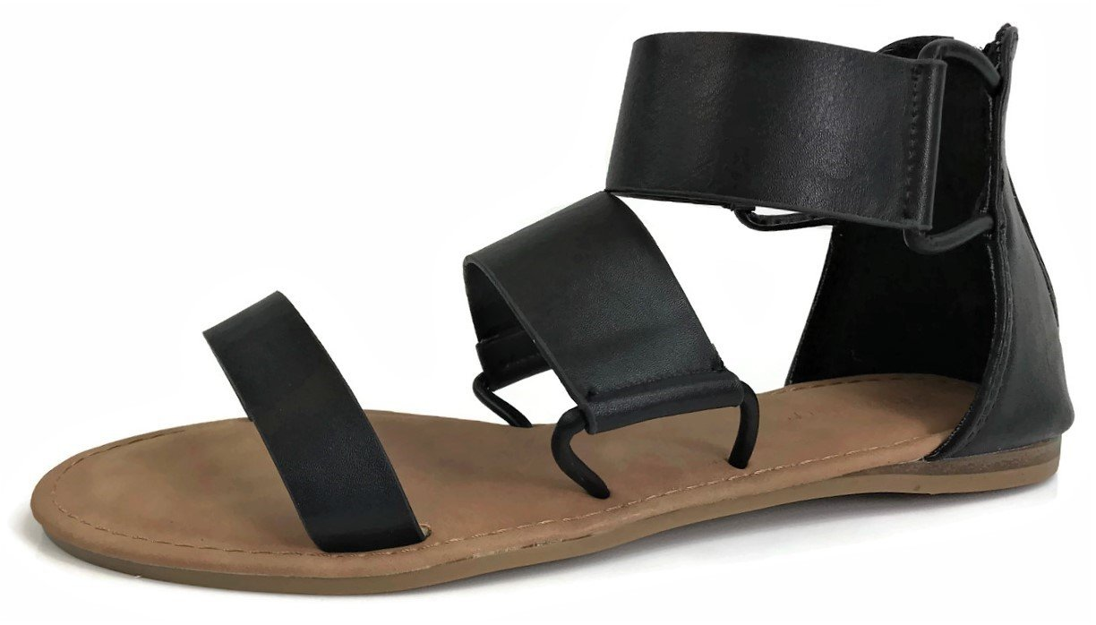 Bamboo Fashion Women's Triple Strap Thick Over The Toe Flat Sandal Quality Faux Leather, Black, 7