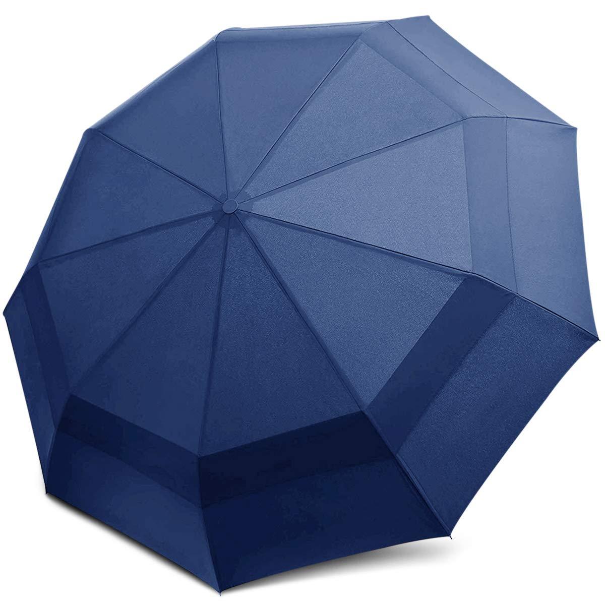 DORRISO Homme Femme Automatique Parapluie Pliant Coupe-Vent Grand Double Canopy Voyage Ombrelle /étanche Portable Parapluie de Voyage Bleu
