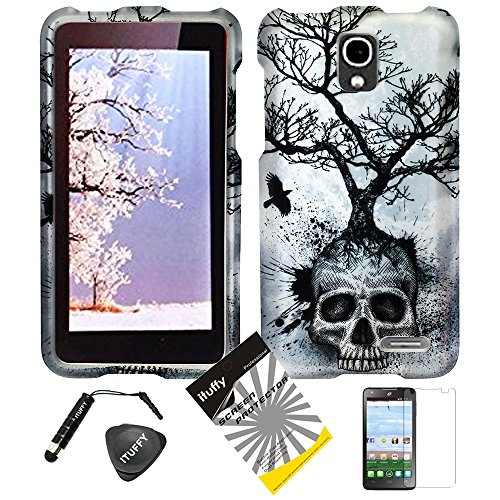 4 Items Combo: ITUFFY (TM) LCD Screen Protector Film + Stylus Pen + Case Opener + Design Rubberized Snap on Case for (2014 TracFone Alcatel OneTouch Pop Star LTE A845L) (Silver Gray Skull Tree)
